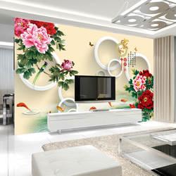 3D бесшовные настенные ткани ТВ фоновые обои с фреской большой росписи в китайском стиле богатые и богатые обои
