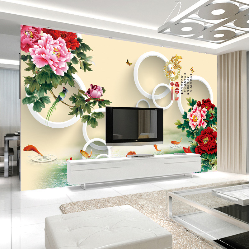 3D Seamless Wall Cloth TV Backdrop Wallpaper Mural Large Mural Chinese Style Rich And Wealthy Wallpaper
