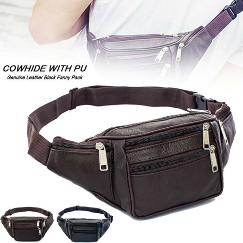 Men's PU Black Waist Fanny Leather Messenger Shoulder Bag Sling Chest Pack Belt Money Bag Travel Sport Hip Pouch Travel Purse