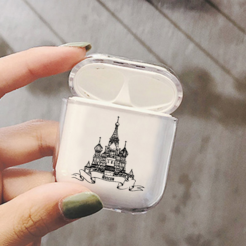 Kremlin Luxury Transparent Hard Case For Apple Airpods Case Moscow Landmark Clear Headphone Protective Cover For Airpods Cases in Earphone Accessories from Consumer Electronics
