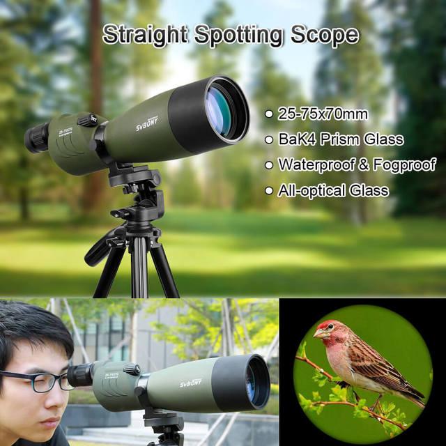 SVBONY Spotting Scope 25-75x70 Zoom Telescope SV17 BAK4 Prism Powerful Monocular Hunting Spyglass Waterproof Long Range Optics 2