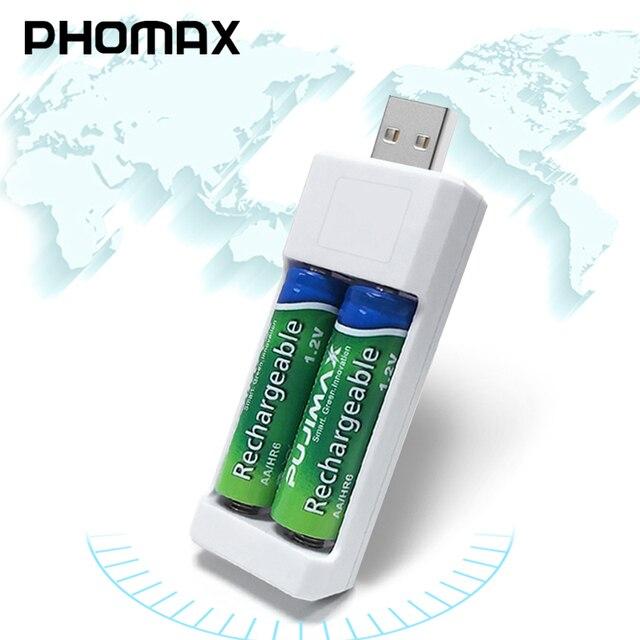 PHOMAX คู่ USB AA แบตเตอรี่ AAA Ni MH/Ni Cd แบตเตอรี่ Charger แบบพกพาน้ำหนักเบา Universal Battery Charger