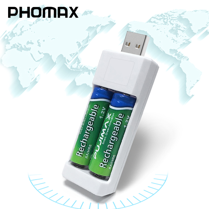 PHOMAX Double USB AA AAA Battery Charger Ni-MH/Ni-Cd Rechargeable Battery Portable Charger Lightweight Universal Battery Charger