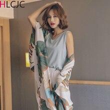 Conjunto de Pijama de algodón para mujer, ropa de dormir femenina de 4 piezas, a la moda, elegante, 2019