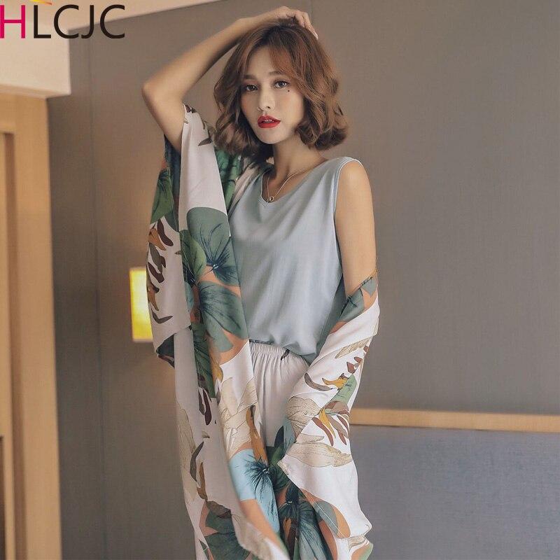 Conjuntos de pijama de algodão fresco 4 peças pijamas feminino pijamas 2019 bonito moda pijamas menina elegante dormir lounge