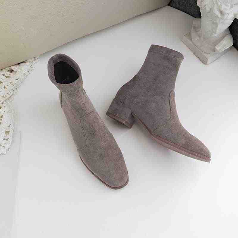 Krazing pot akın yuvarlak ayak kayma med topuklu kadın yarım çizmeler katı pist tatlı ofis bayan sıcak tutmak streç kısa çizmeler l08