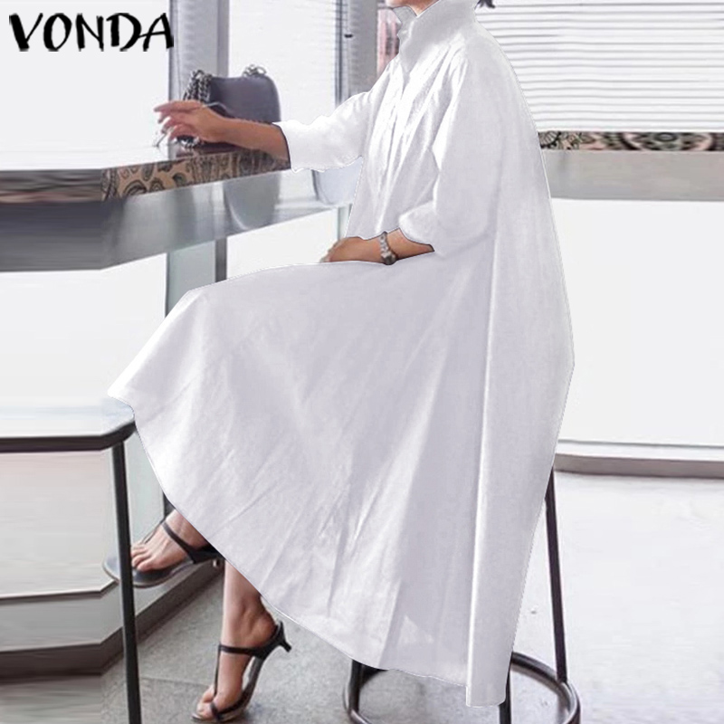 VONDA White Dress Women Sexy Turn-down Collar Asymmetrical Party Dress Office Ladies Sundress Casual Loose Vestido Plus Size