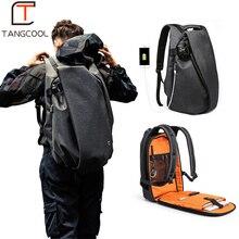 """Tangcool mochila masculina moderna, para laptop 15.6 """", usb, à prova dágua, grande capacidade, para viagens, escola e faculdade"""