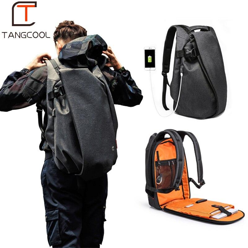 Tangcool mode hommes sac à dos pour ordinateur portable 15.6 Port USB étanche voyage sac à dos grande capacité collège étudiant école sac à dos