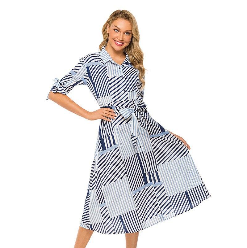 BacklakeGirls New Design Lattice Printing Dress 2019 Summer And Fall Lapel Belt Vacation Long Dress Dluga Sukienka