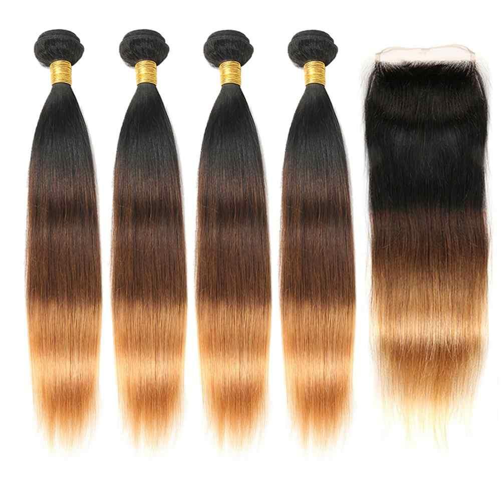 Braziliaanse Remy Hair Weave Bundels Met 4x4 Sluiting Straight Ombre Bundels Met Sluiting Toe Haar Zing Silky Human haar Leveranciers