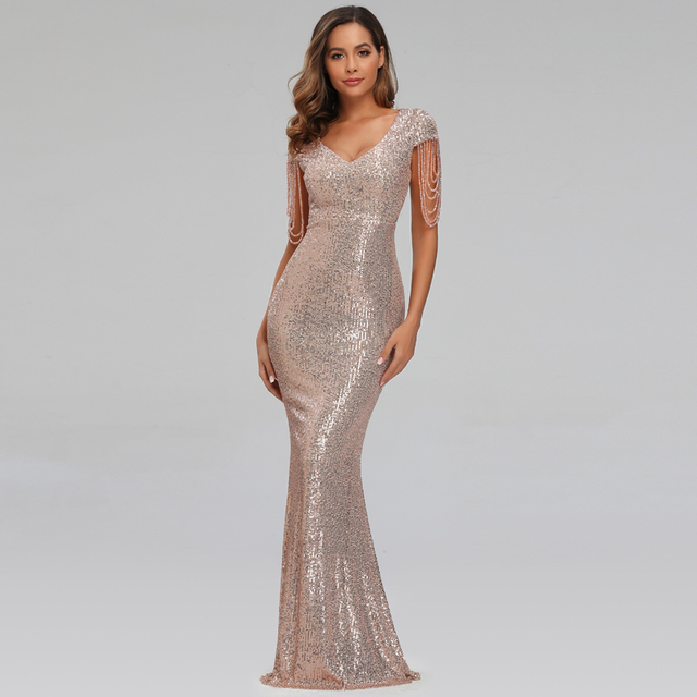 New Women Sequins Long Evening Dress Elegant V-neck Beading Evening Party Dress 2