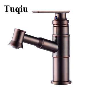 Vidric New Basin Faucet brown Oil Brushed Brass Bathroom Faucets Hot and Cold pull out Contemporary Mixer Tap torneira