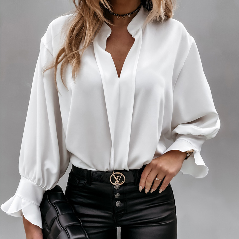 Diiwii Women Autumn Long Sleeve Tops Elegant Casual O Neck Solid Color Blusa Office Ladies Metal Button Basic Shirts Blouse 8