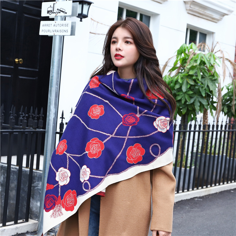 Women Imitation Cashmere Scarf Shawl Dual-Use Double-Sided Thickened Large Bib Warmth Flower Temperament Scarf Платок Женский