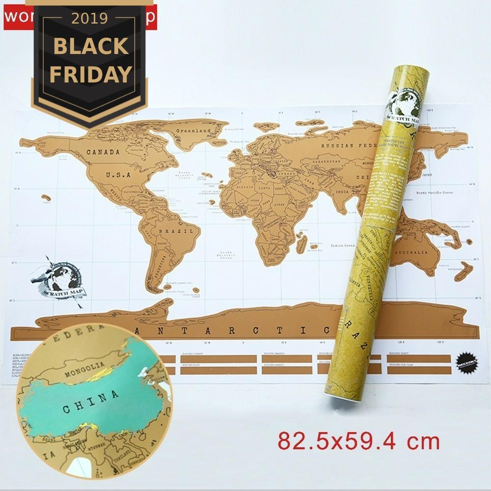 Deluxe Travel World Scratch Map Scratch Off World Map Personalized Travel Erase Map Room Home Decoration Wall Stickers Supplies