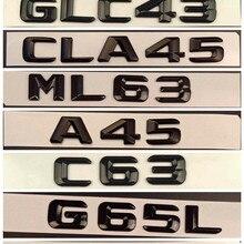 Badges Emblem W176 C43 Amg Mercedes-Benz Trunk Letters BLACK GLOSS Chrome for C63 A45