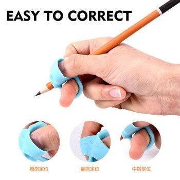 цена на 3pcs Cute Silicone Pencil Grip Beginner Writing Aid Tool Baby Double Thumb Posture Correction Tool Pen Holder Kids Supplies