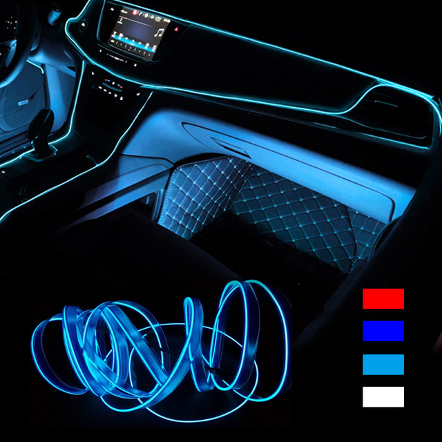 3m/5m Car LED Strips Interior Strip light 12V  Indoor Flexible Neon EL Wire Rope Universal Interior LED Car Light Strip for Car
