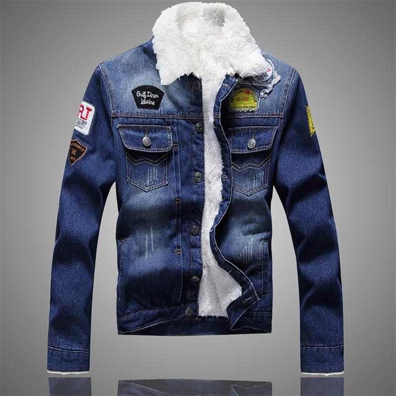 2019 Autumn Winter Men Jean Jacket Fashion New Brand Casual Denim Coat Male Slim Fit Warm Fur Lined Motorcyle Jacket Men's jeans