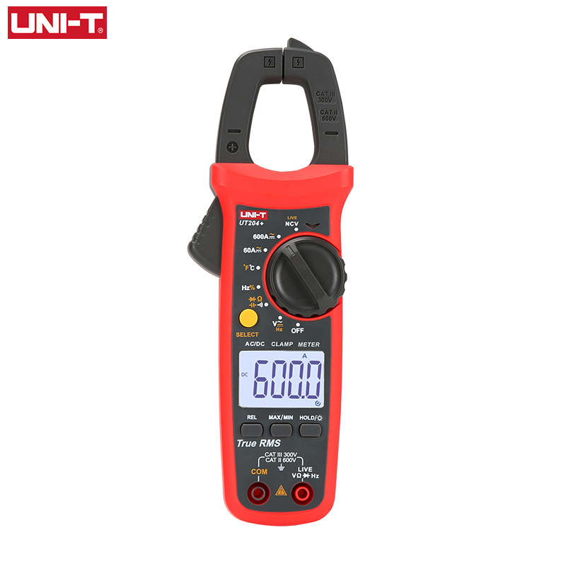 UNI T UNI T  UT202A+ UT204+ Digital AC DC Current Clamp Meter Multimeter True RMS 400 600A Auto Range Voltmeter Resistance Test|Clamp Meters| |  - title=