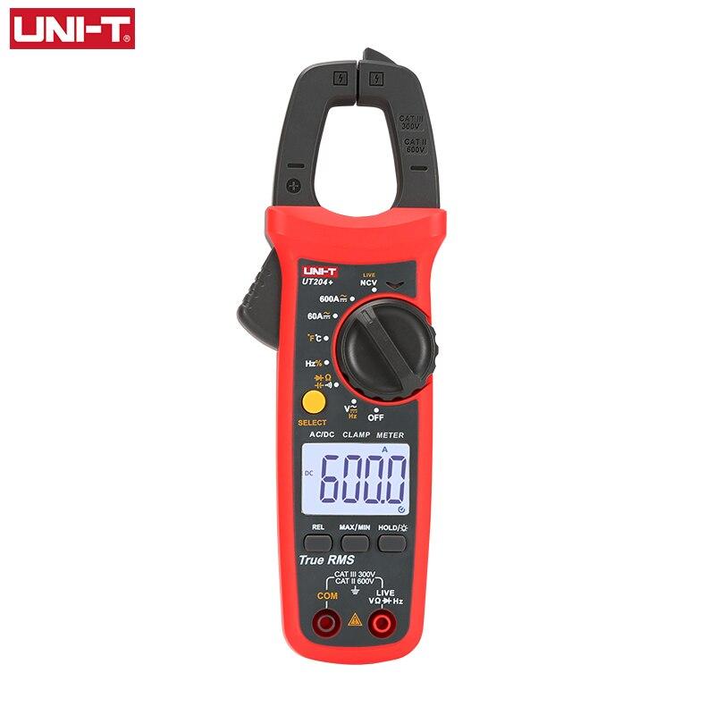 Uni t UNI-T ut202a + ut204 + 디지털 ac dc 전류 클램프 미터 멀티 미터 true rms 400-600a 자동 범위 전압계 저항 테스트
