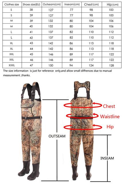 HANITE 5mm Waterproof Thermal  Neoprene Wader with Rubber Boots for Fishing, Hunting, useful in rainy,snowy and flood weather 5