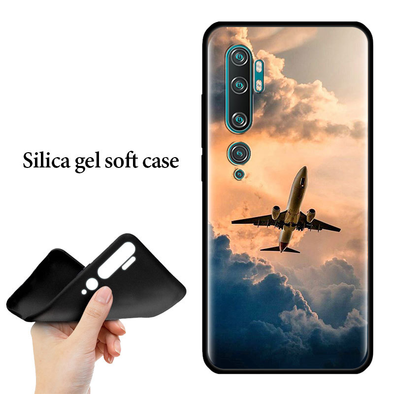 Silicone Case For Xiaomi Mi 10 9 Pro 5G 9 9SE 9T Note 10 Pro A1 9 A1 A2 8 Lite Poco F1 X2 Phone Cover Aircraft Plane Airplane