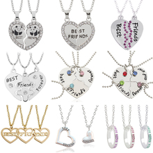 Best Friends Necklace Pendant Puzzle BFF Bitches Forever Key Football Pizza Broken Heart Necklaces Pendants Collier