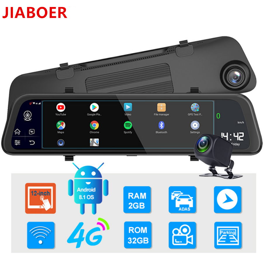 """12"""" 4G Touch Screen Car Dash Camera Recorder Rearview DVR Mirror Full HD 1080P Android 8.1 Wifi GPS Navigation Mirror Video Cam 6"""