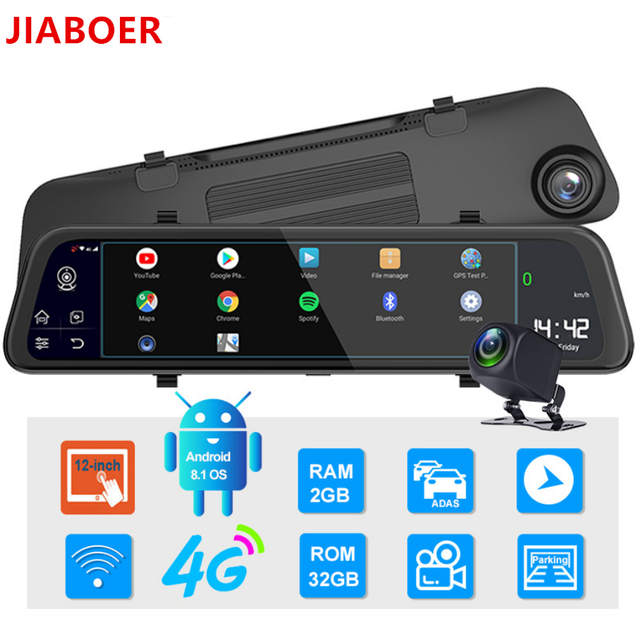"12"" 4G Touch Screen Car Dash Camera Recorder Rearview DVR Mirror Full HD 1080P Android 8.1 Wifi GPS Navigation Mirror Video Cam 6"