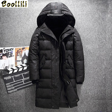 Boolili Hooded Long Winter Duck Down Parkas Men Casual Black Outwear Down Jackets Male Thick Down Coat Fashion Puffer Jacket cheap Slim 8910 Military zipper Full Pockets 3D Print Wave Cut Zippers Adjustable Waist Thick (Winter) Broadcloth Acetate Polyester