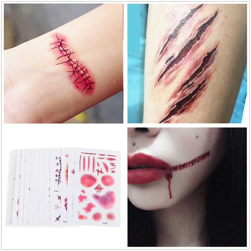 30 Pcs Tahan Air Halloween Luka Realistis Darah Palsu Temporarytattoo Stiker