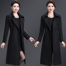 Женское корейское зимнее длинное пальто женское свободное шерстяное пальто плюс размер верхняя одежда кардиганы с длинным рукавом Manteau Femme Hiver элегантное