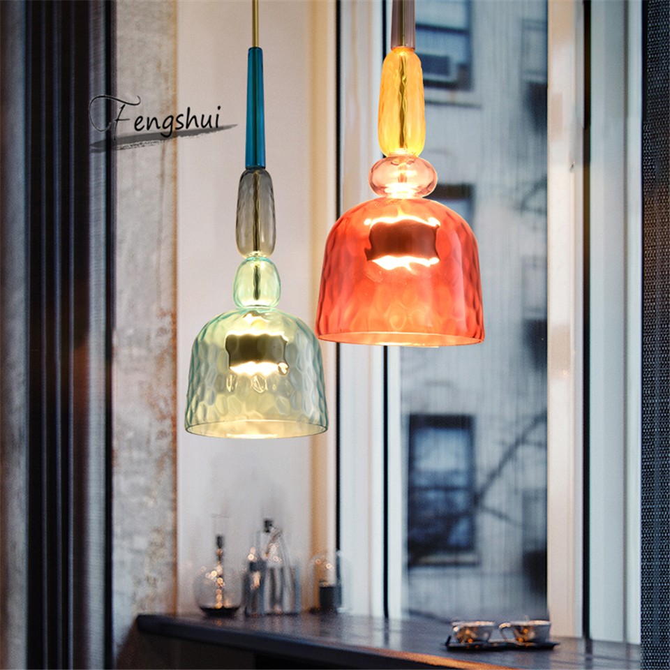 Modern Pendant Lights American Amber Glass Pendant Lamp Colourful Dinning Room Kitchen Home Decor Planetarium Lamp Lustre