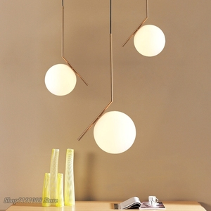 Image 3 - Modern Glass Ball Pendant Light kitchen hanging lamps Hang Lamp Nordic Home Decor Light Fixtures christmas decorations for home