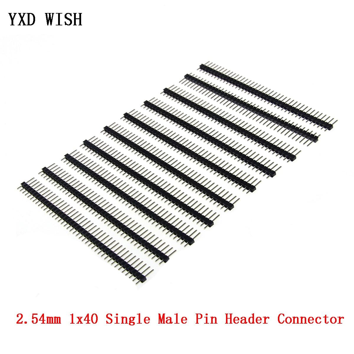 10pcs 2.54mm 단일 남성 핀 헤더 커넥터 1x40 단일 행 2.54 깨지기 쉬운 40 핀 커넥터 스트립 보드