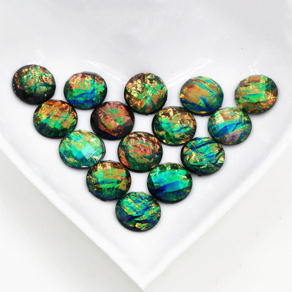 New Fashion 40pcs 12mm Green Color Tangent Plane Built-in Metal Foil Flat Back Resin Cabochons Cameo  Z5-21