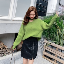Women Sweater Pullover Sweaters Solid Color Halter Long Sleeve Loose V-neck Sweater Plus Size round neck solid color stylish long sleeve men s sweater