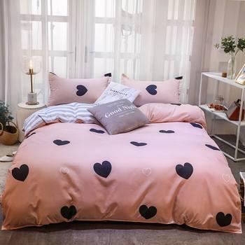 Simple Bedding Set Pink Black Heart 28