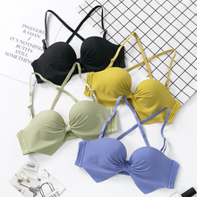 BEFORW Adjustable Simple Half Cup Bras For Women Backless Wireless Bralette Comfortable Seamless Push Up Bra Sexy Lingerie