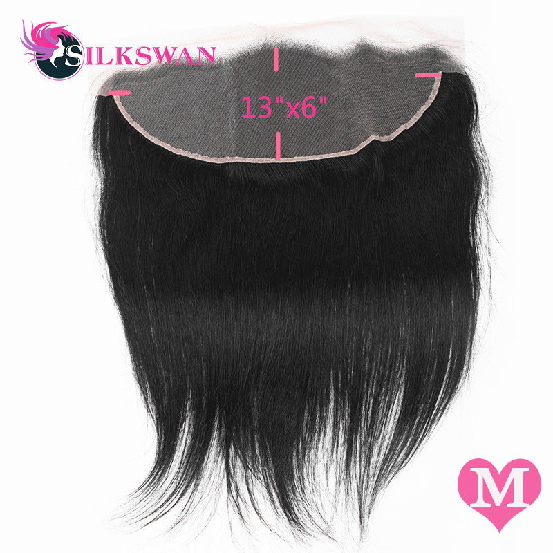 Silkswan Straight 13*6 Lace Frontal Transparent Lace Frontal With Baby Hair Medium Ratio Remy HairPre-plucked Ear To Ear Closure