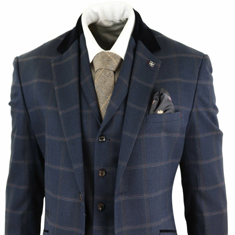 Navy Blue Mens Suits Herringbone Tweed Check 3 Piece Vintage Suit Peaky Blinders Tan Terno Masculino