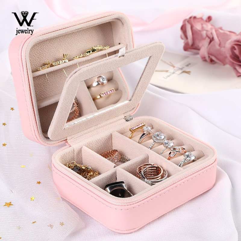 WE Double-layer Women's Mini Stud Earrings Rings Jewelry Box Useful Makeup Organizer With Zipper Travel Portable Jewelry PU Box
