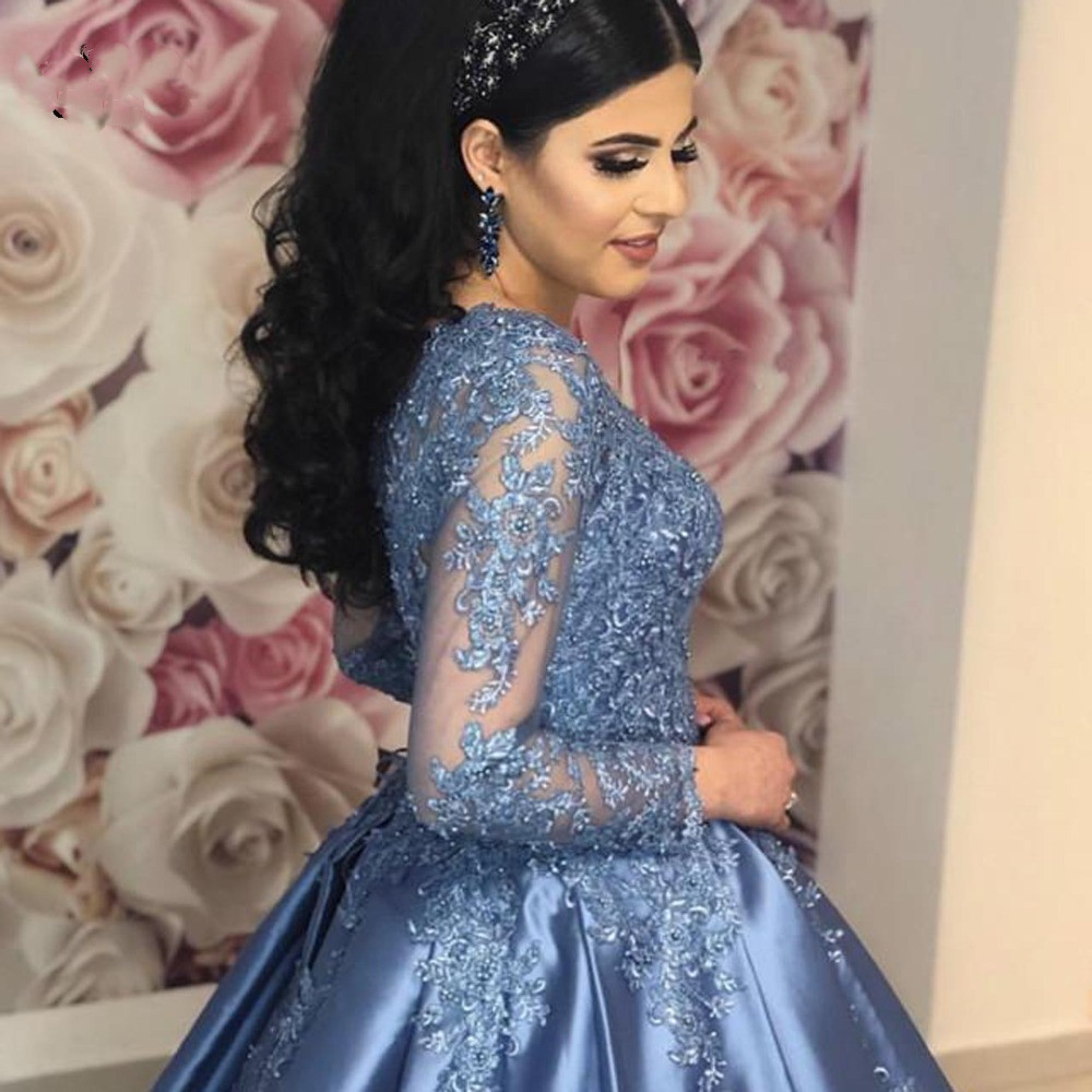 Vintage Blue Muslim Prom Dresses Lace Beads With Full Sleeves Puffy Ball Gown for Wedding Saudi Arabic Long Formal Evening Dress