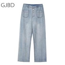Women's Jeans Trouser Wide-Leg-Pants Streetwear Vintage High-Waist Baggy Straight Casual