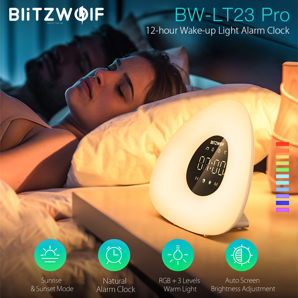 BlitzWolf BW LT23 Pro Wake up Light Natural Alarm Clock with Sunrise Sunset Mode Touch Smart