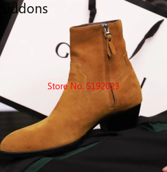 Gold PU Leather Wyatt Ankle Boots Men Chelsea Boots Stacked Heel Military  Zapatos De Hombre Winter Shoes D302