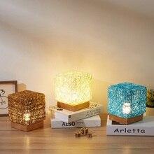 СВЕТОДИОДНЫЙ Ночник из ротанга, Настольный светильник, вечерние, свадебные, Красочные лампы, для спальни, для учебы, светильник, украшение для дома