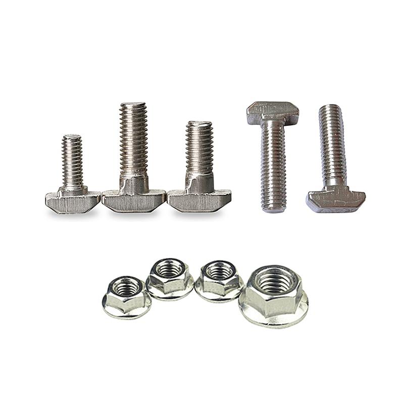 M5 M6 M8 T Type Nuts Fastener Aluminum Connector Screw Flange Hex Nut For Aluminum Profile 2020 3030 4040